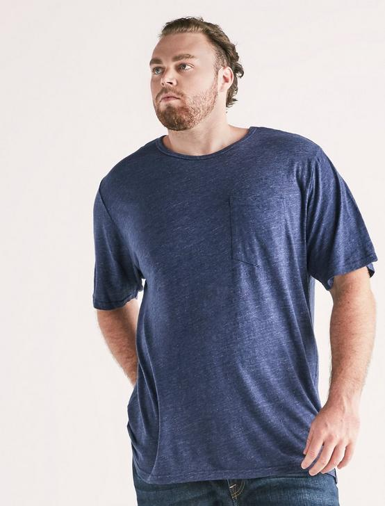 Big and Tall Linen Pocket Crew Tee, PEACOAT, productTileDesktop