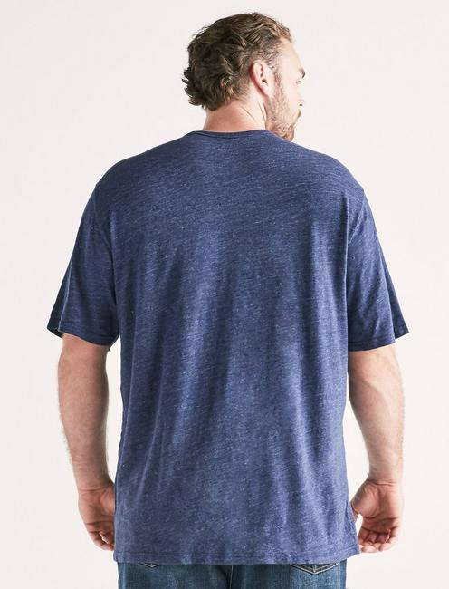 Big and Tall Linen Pocket Crew Tee, PEACOAT
