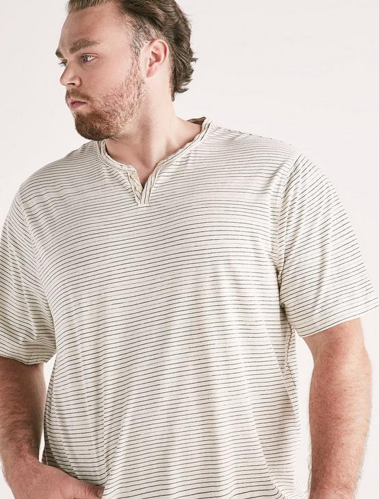 Big and Tall Linen Stripe Tee, OAT MULTI, productTileDesktop