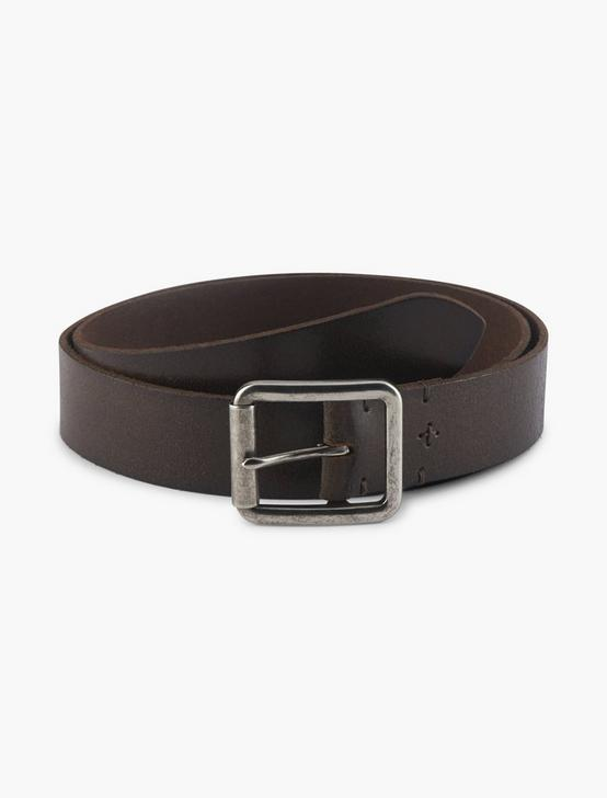 DISTRESSED STITCH BELT, WASHED BROWN, productTileDesktop