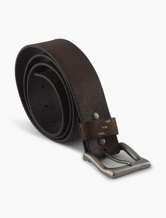 DISTRESSED LEATHER BELT, BROWN, productTileDesktop