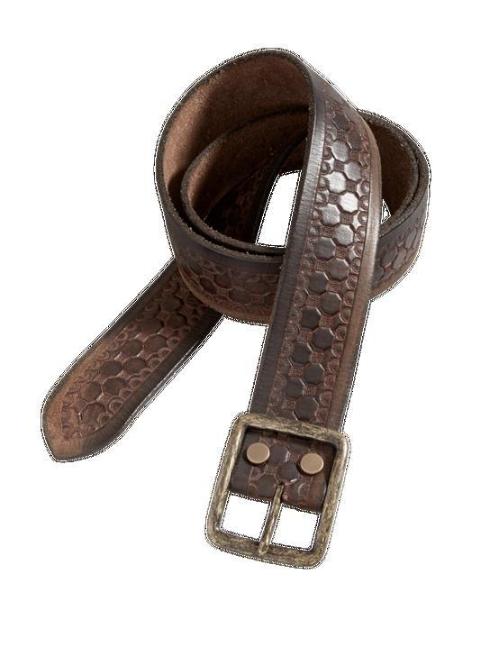 HEXAGON EMBOSSED BELT, MEDIUM BROWN, productTileDesktop