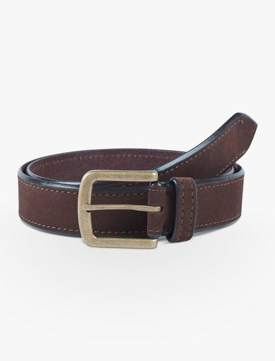 CONTRAST EDGE SUEDE BELT, CHOCOLATE, productTileDesktop