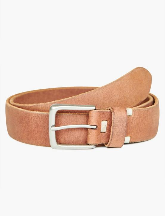 BASIC TOP DETAIL LEATHER BELT, TAN, productTileDesktop