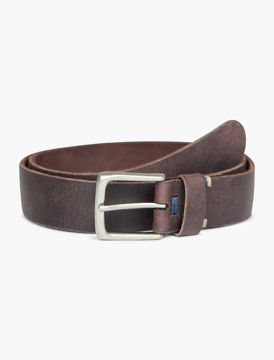 BASIC TOP DETAIL LEATHER BELT, CHOCOLATE, productTileDesktop
