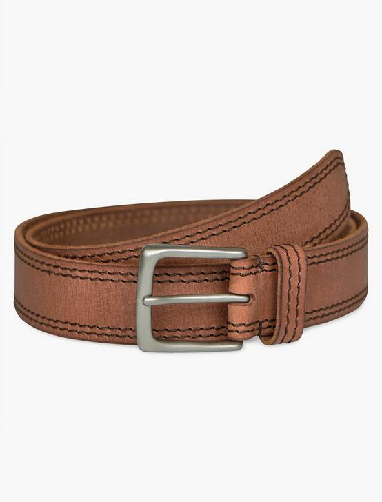 CONTRAST STITCH LEATHER BELT, TAN, productTileDesktop