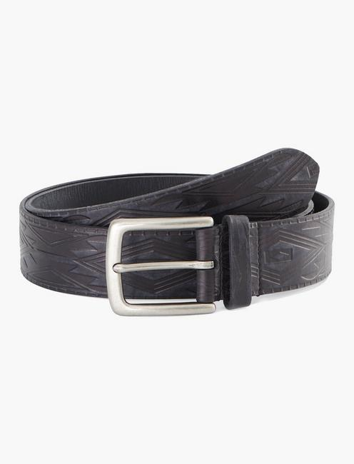 GEOMETRIC EMBOSSED BELT, BLACK