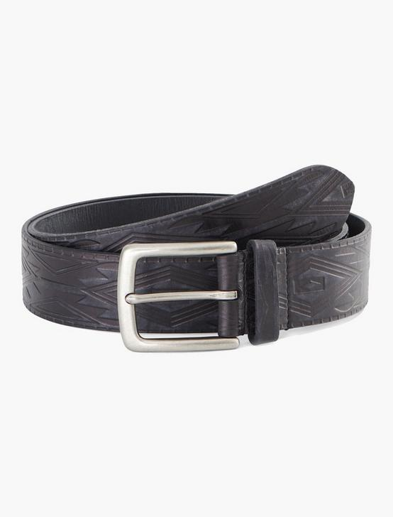 GEOMETRIC EMBOSSED BELT, BLACK, productTileDesktop