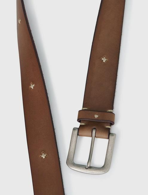 CROSS STITCH DETAIL BELT, OLIVE