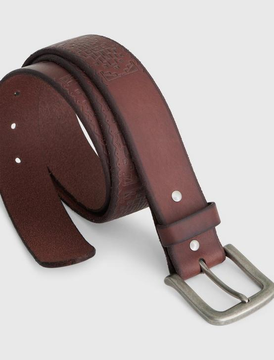 EMBOSSED DETAIL BELT, CHOCOLATE, productTileDesktop