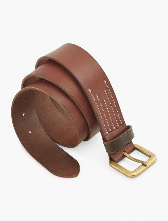 STITCH DETAIL LEATHER BELT, BROWN, productTileDesktop