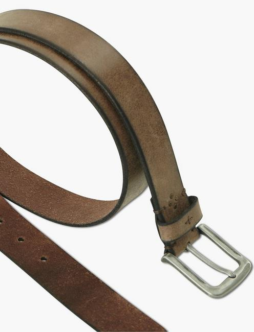 STITCHED DISTRESS BELT, WASHED BROWN