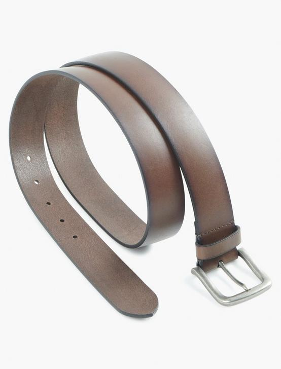 SOLID BRIDLE LEATHER BELT, BROWN, productTileDesktop