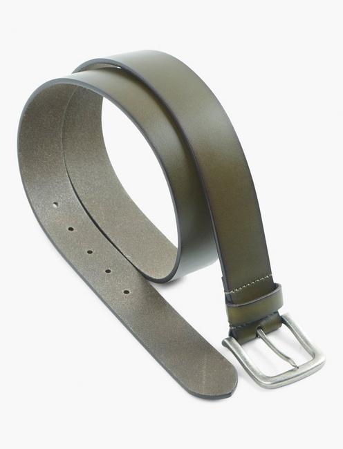 SOLID BRIDLE LEATHER BELT, OLIVE