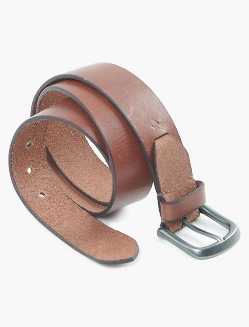 DISTRESSED LEATHER BELT, SADDLE TAN