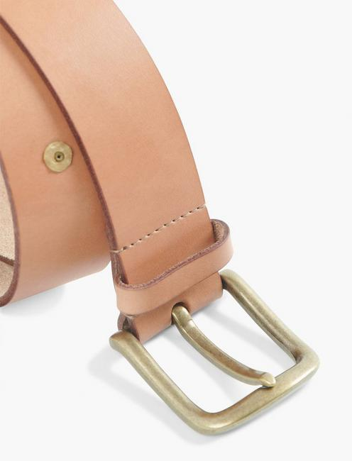 RIVET LEATHER BELT, NATURAL
