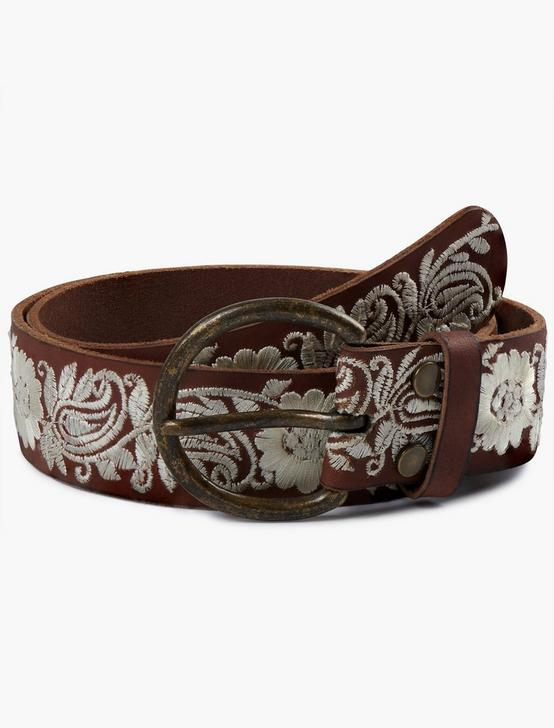 JENNA BROWN EMBROIDERED BELT, DARK BROWN, productTileDesktop