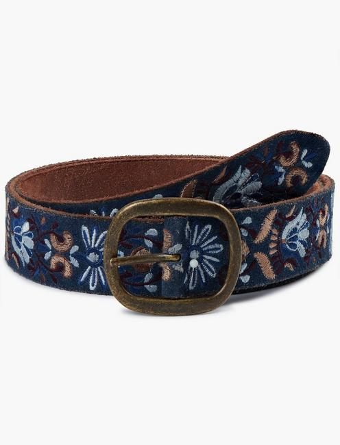 BLUE/BURGUNDY FLORAL EMBROIDERY BELT,