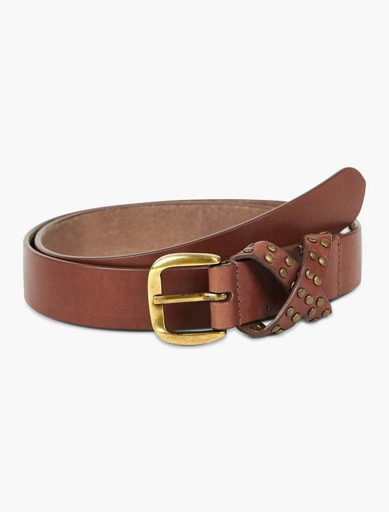 LEATHER SKINNY BELT, BROWN, productTileDesktop