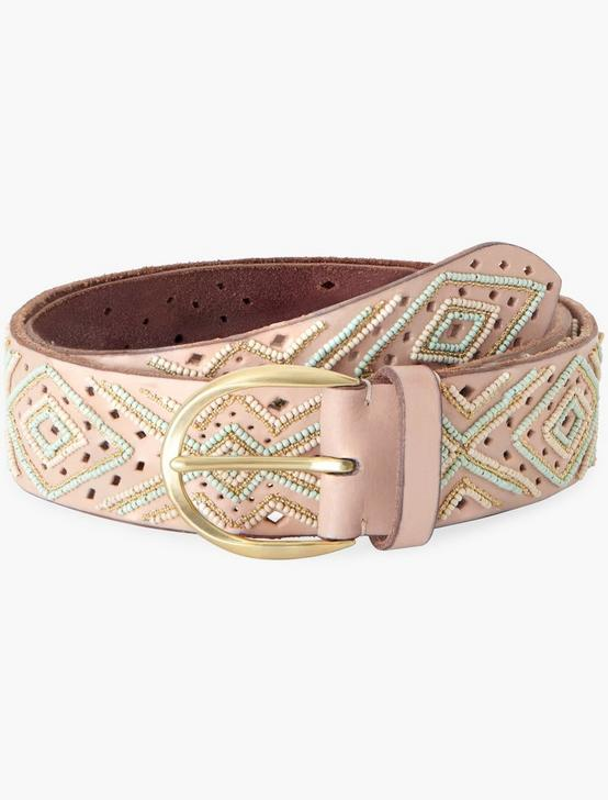 GEO BEAD PERFORATED BELT, NEUTRAL, productTileDesktop