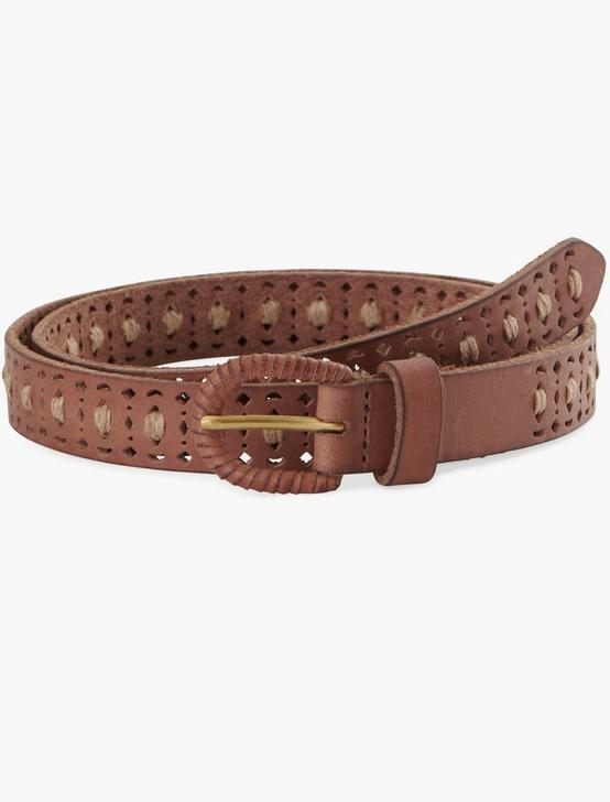 PERFORATED STITCH BELT, TAN, productTileDesktop