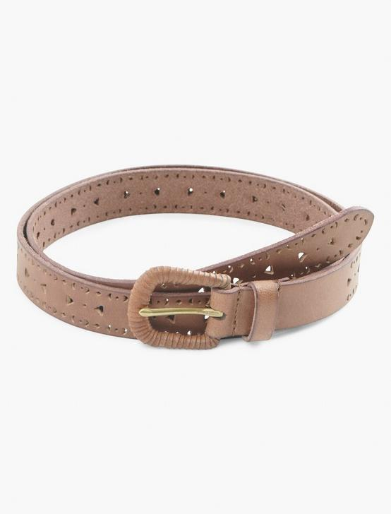 PERF WRAPPED BUCKLE BELT, BROWN, productTileDesktop