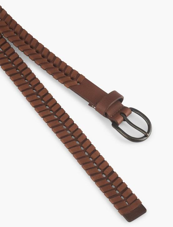 WHIP STITCH LEATHER BELT, BROWN, productTileDesktop