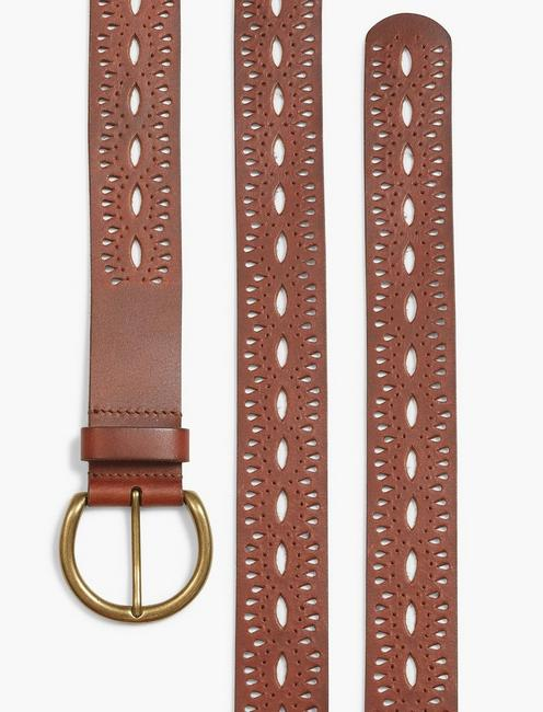 BEACHWOOD CUTOUT BELT, MEDIUM BROWN