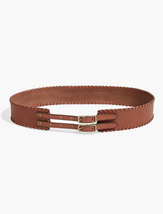 BUCKLE WHIPSTITCH BELT, LIGHT BROWN, productTileDesktop