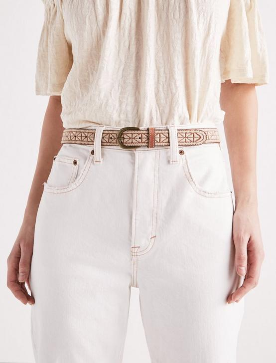 TEXTURED EMBROIDERY BELT, CREAM, productTileDesktop