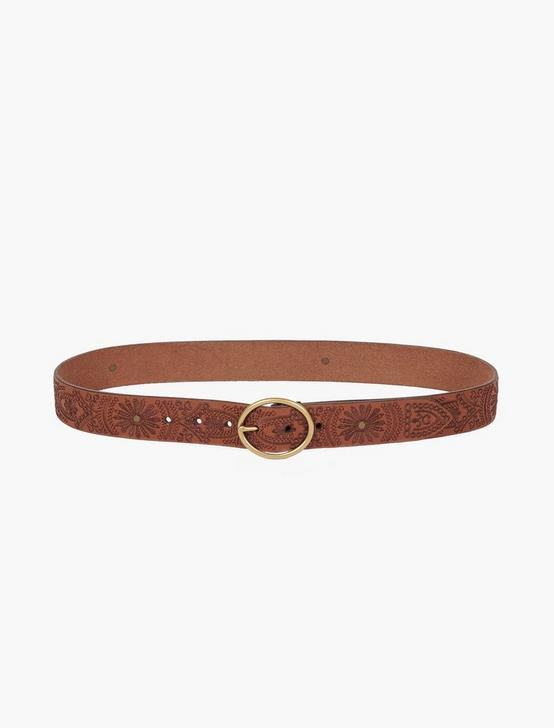 TONAL FLORAL BELT, TAN, productTileDesktop