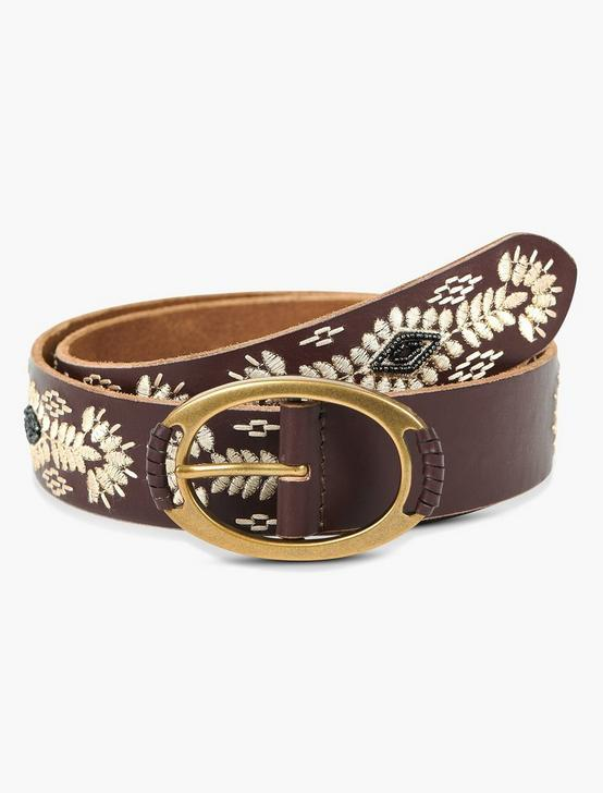 CREAM EMBROIDERY BELT, BROWN, productTileDesktop