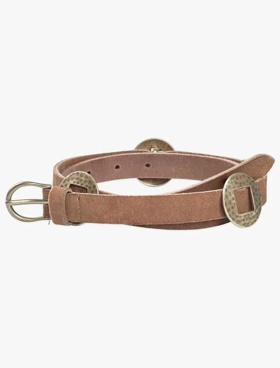 HAMMERED CONCHO BELT, BROWN, productTileDesktop