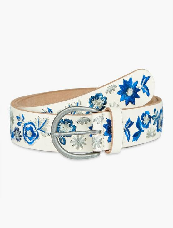 FLORAL EMBROIDERED BELT, BLUE MULTI, productTileDesktop