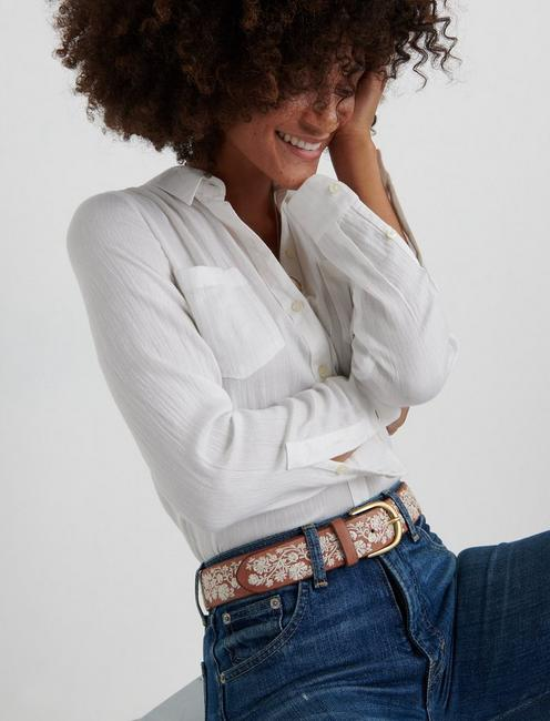 CREAM FLORAL EMBROIDERED BELT, CREAM MULTI