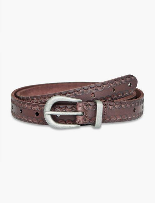 Scallop Embossed Belt With Novelty Buckle