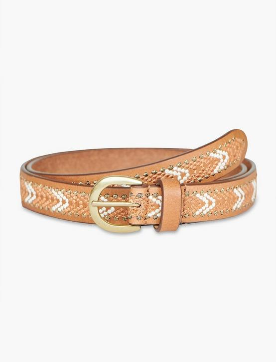 EMBROIDERED SKINNY BELT, NEUTRAL, productTileDesktop