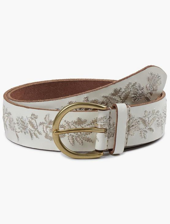 CREAM METALLIC FLORAL EMBROIDERED BELT, CREAM, productTileDesktop