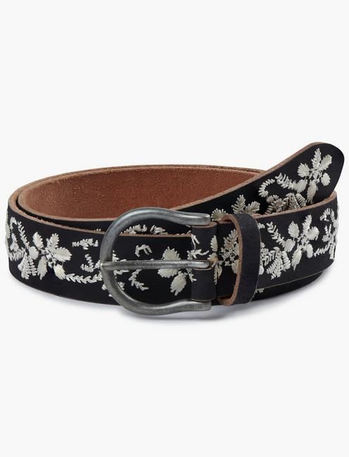 BLACK AND WHITE FLORAL EMBROIDERED BELT, BLACK