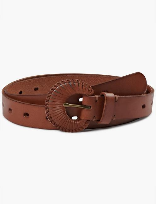 SKINNY BELT WITH LEATHER BUCKLE, NATURAL