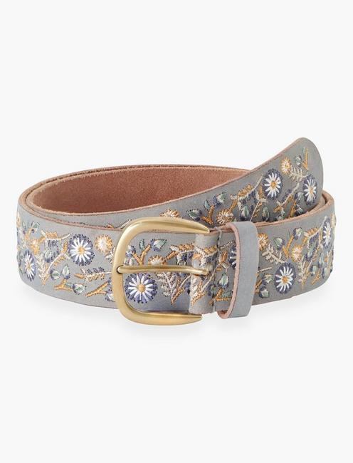 BLUE FLORAL EMBROIDERED BELT, DUSTY BLUE
