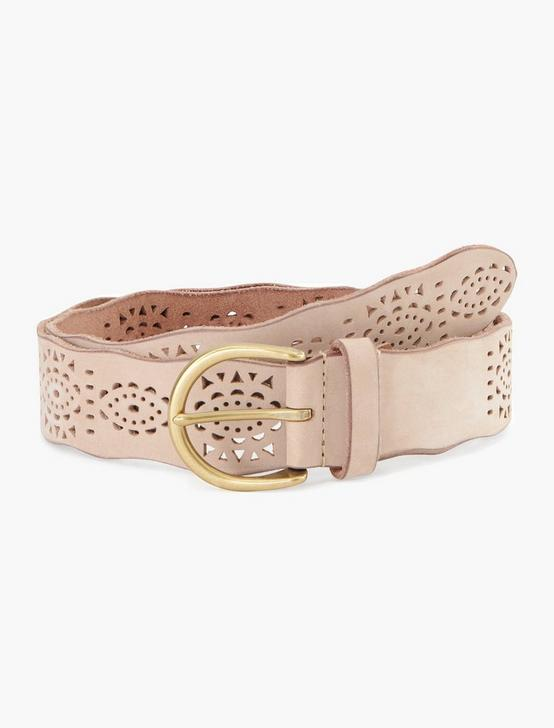 GEO PERFORATED SCALLOP EDGE BELT, CREAM, productTileDesktop