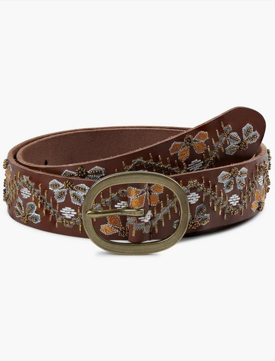 BEADED FLORAL BELT, MULTI, productTileDesktop
