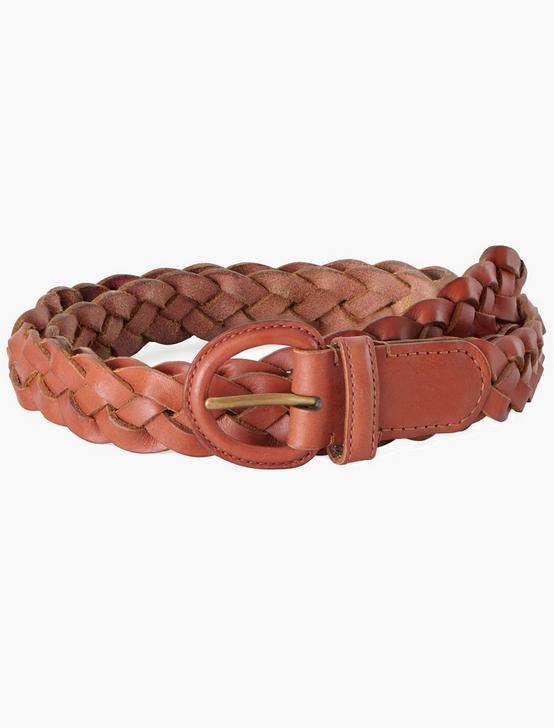 ROPE LEATHER BRAID BELT, RUST, productTileDesktop
