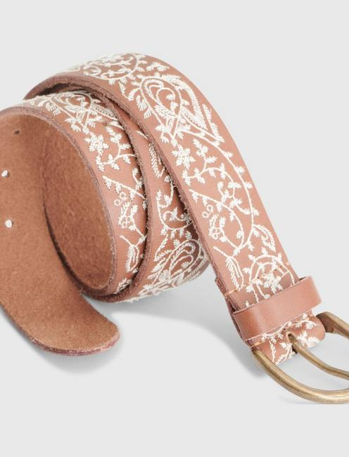 PAISLEY EMBROIDERED BELT, BROWN