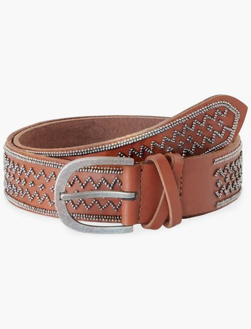 GEO METAL BEADED BELT, COGNAC