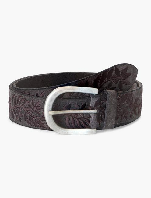 FLORAL EMBROIDERED BELT, CHARCOAL