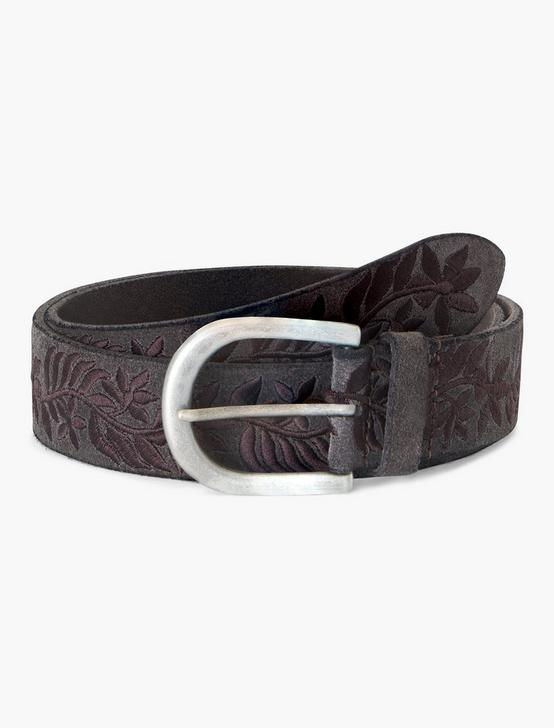 FLORAL EMBROIDERED BELT, CHARCOAL, productTileDesktop