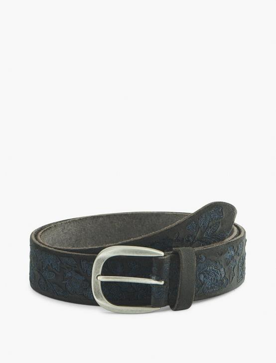 FLORAL EMBRIODERED BELT, BLACK, productTileDesktop