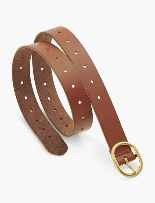 PULL THROUGH LEATHER BELT, BROWN